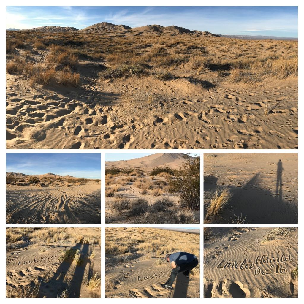 Spuren und Schatten über der Mojave Wüste bei den Kelso Dünen im Joshua Tree Nationalpark in Kalifornien